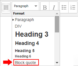 Moodle text editor window. The header menu includes a block quote option.