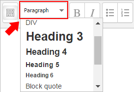 Moodle text editor window. The second button allows choosing between paragraph or heading level.