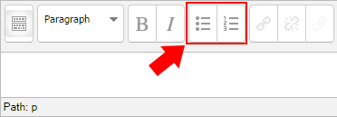 Moodle text editor window. The fifth and sixth buttons allow adding a bulleted list and numbered list respectively.