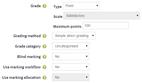Moodle assignment grade settings