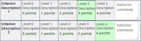 Rubric grading panel