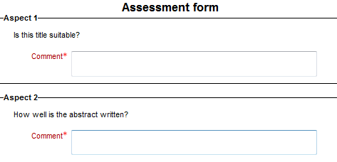 comments assessment form