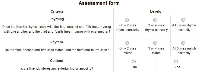 rubric assessment form