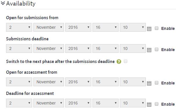 workshopsteps settings availability