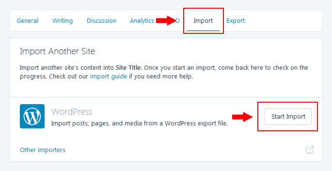 WordPress.com - Start Import