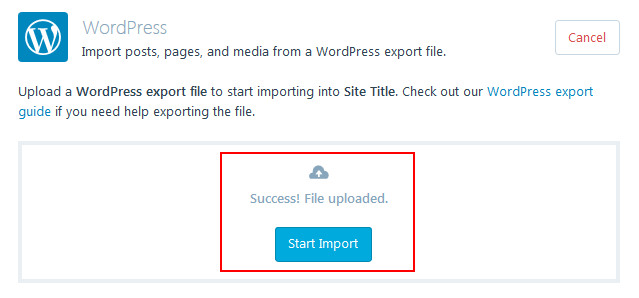 WordPress.com - File Import Successful, Start Import
