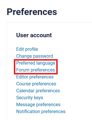 prefered language and forum settings